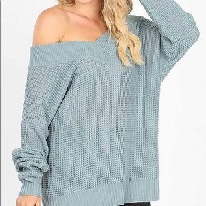 Off the shoulder waffle sweater plus sizes